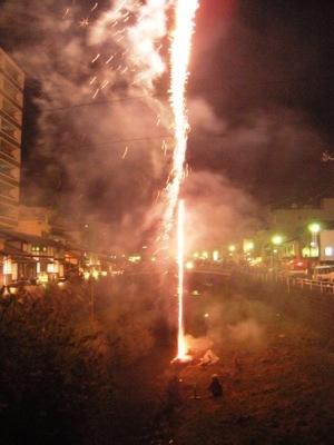 松本市 四柱神社 神道祭り ナイアガラ 花火